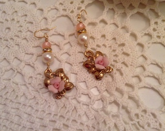 Vintage Pink Rose Assemblage wedding Earrings, Shabby Chic