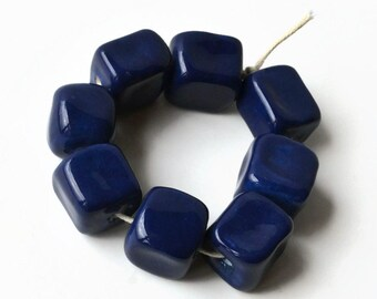Dark blue ceramic cube beads, Ceramic cubes, African Beads, Dark blue square beads, 8 beads,