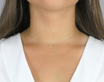 Dainty Choker Karma  Necklace, in 14k Gold Filled.