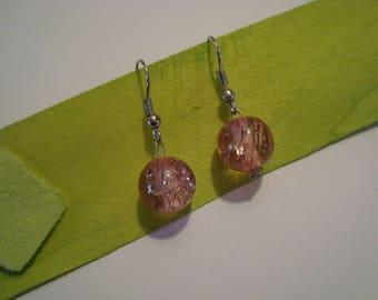 Pink glitter tube earrings
