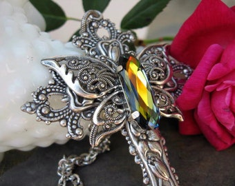 Multi Hued Butterfly Crystal Cross Cross Necklace - N192