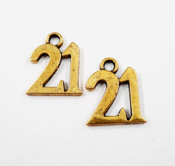 Number 21 Charms 17x15mm Antique Gold Number Charms, Twenty-One Charms, Gold Number Pendants, Number 21 Pendants, Antique Gold Charms, 10pcs