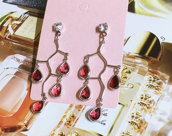 Unique Red Gem Tree Dangle Drop Earrings - Everyday
