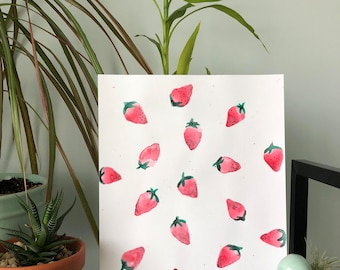 Strawberry Fields Forever Watercolor Painting