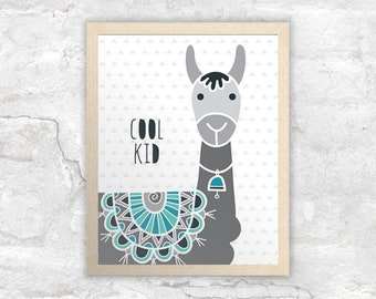 PRINTABLE Cool Kid Llama Wall Art | Instant Digital Print Download | Original Doodle Design