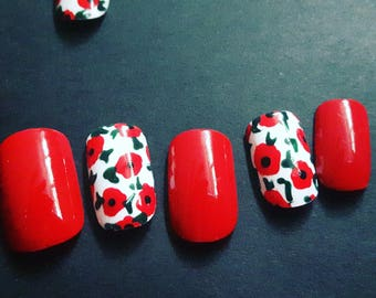 Kylie's Poppies - Handmade Full Coverage Press on Nails