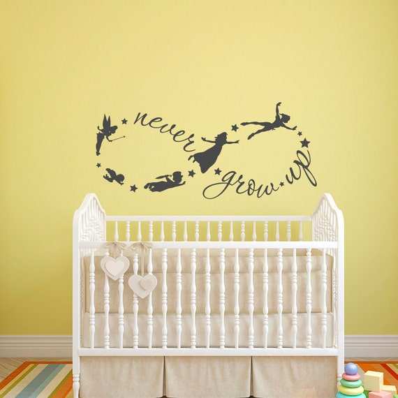 peter pan wall decal never grow up quote fairy silhouette. Black Bedroom Furniture Sets. Home Design Ideas