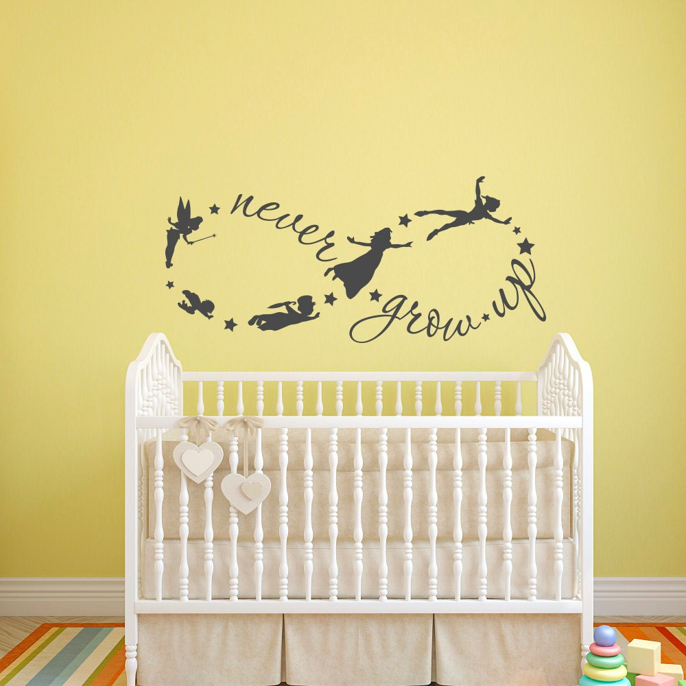 Peter Pan Wall Decal Never Grow Up Quote Fairy Silhouette