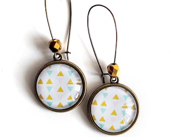 Earrings, geometric, sky blue and gold image, Swedish inspired, Golden beads