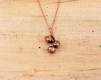 Electroformed Real Seed Buds Copper Necklace J24