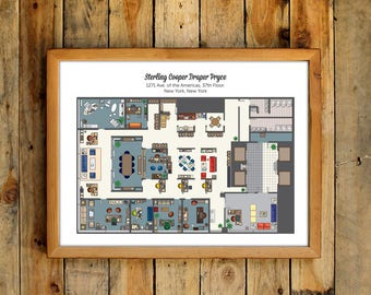 Floor plan etsy mad men floor plans sterling cooper draper pryce office poster don partners tv show advertising agency malvernweather Image collections