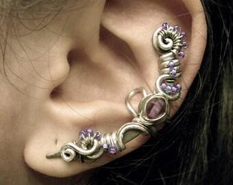 Violet Silver Ear Cuff