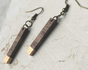 Dangle Wood Earrings - Thin Rectangle Earrings - Natural Wood Jewelry - Gifts for Her - Portland Jewelry - Dangle and Drop Earrings
