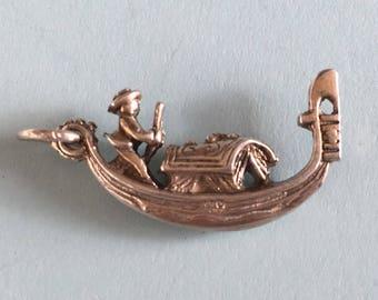 Silver Gondola Charm - Vintage Gondalier, Venice Bracelet Charm or Pendant