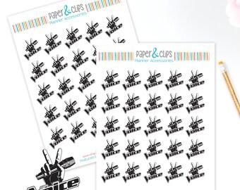 25 The Voice TV Show Reminder Stickers, Planner Stickers, Reminder Stickers, Happy Planner, Calendar Stickers, Erin Condren Stickers