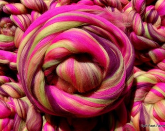 Zinnias - Custom Blend - Merino - 4 oz - Combed Top Roving - Spin, Felt, Fiber Art - Pink, Orchid, Peach, Yellow, Chartreuse