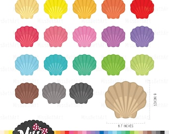 30 Color Shell Clipart - Instant Download