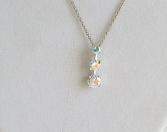 Sterling Silver Swarovski Crystal Drop Pendant Chain, Simple Wedding Necklace, Bridal Necklace