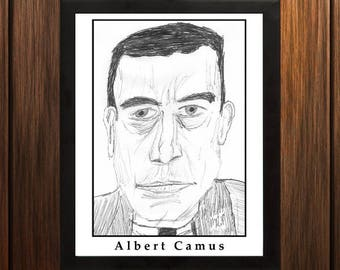 Albert Camus - Sketch Print - 8.5x11 inches - Black and White - Pen - Caricature Poster