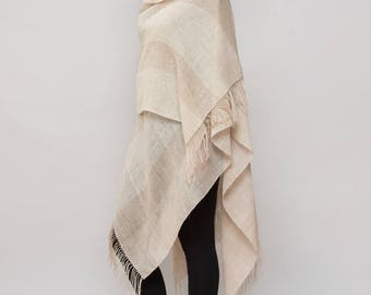 LINEN PONCHO / 100% organic linen/  Hand knit / shawls ruana wrap scarf  SALE!