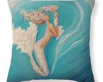 Mermaid throw pillow,  teal blue mermaid pillow, original painting by Nancy Quiaoit