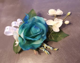 Aqua Blue & white boutonniere with magnet