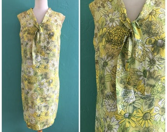60's yellow floral shift dress