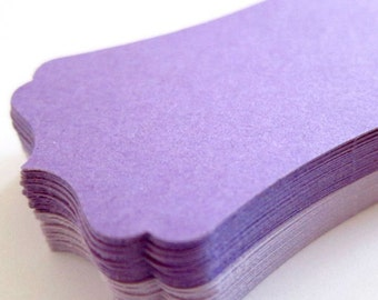 "Set of 40 - 2 4/5"" x 1 9/20"" inches - 2 toned PURPLE - Bracket Labels - Hand Punched Blank Cardstock - Die Cut Gift Merchandise Hang Tags"
