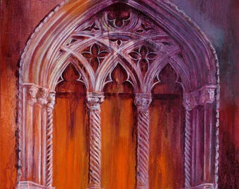Palazzo Window fridge magnet from an original painting by D Y Hide available as a print and greetings card