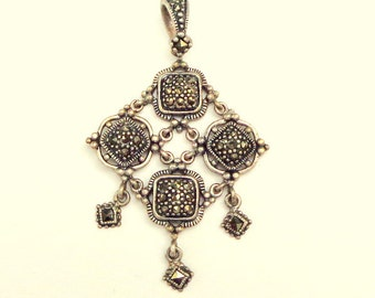 Estate Jewelry, Sterling Silver, Marcasite Pendent, Dangling Pendent, Vintage Pendent, Victorian Pendent,Sparkling Gemstones, Woman's Formal