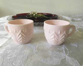 Vintage shell pink punch cups,Jeannette Glass 1950s,Vintage Wedding,punch cups,pink cups