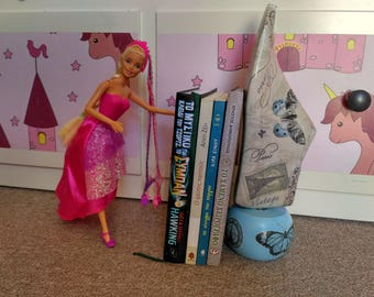 decorated wooden bookend