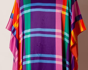 Gorgeous Vintage 80s 90s Colorful Poncho Dress - DAVID BROWN California