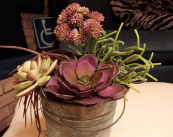 faux artificial succulent floral flower arrangement aged metal pail bucket purple green FREE SHIPPING INCLUDED