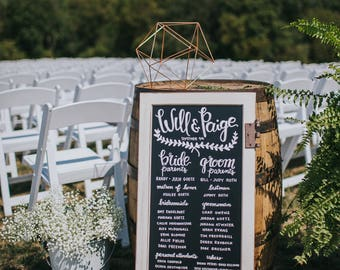 WEDDING ART: Hand Lettered Rustic Chalkboard Wedding Board / Wedding Party / Order of Ceremony / Order of Events Sign Rustic Industrial Wood