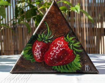 Strawberry painting Strawberry canvas Still life painting Fruit miniature Chef painting Small fruit art