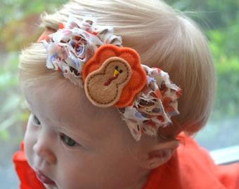 Baby headband, Thanksgiving Little Turkey Baby Headband, Toddler Headband, Newborn Headband, infant headband, baby accessories