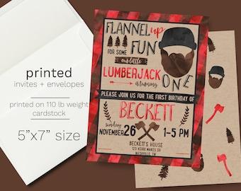 Little Lumberjack First Birthday Party Invitation - PRINTED INVITATIONS Buffalo Plaid Kraft Rustic Invite 1st Watercolor Outdoors Boy Invite