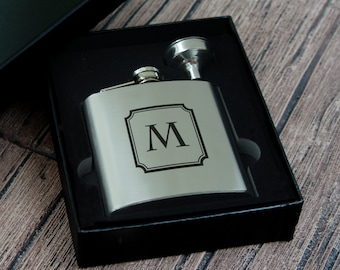 Personalized Stainless Steel Flask Gift Set with Funnel with Choice of Monogram Design Options (Each - in Gift Box)