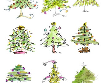 "CHRISTMAS CRAFTERS PAGE3..Clipart / Digital Download / 300 dpi/ hi resolution of Original Watercolor . 8""x10"" Great for any application."