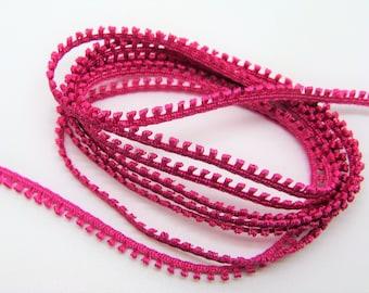 5 meters of fine hot pink trim tassels - ref 28