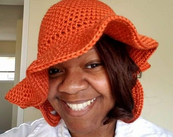 Orange crochet sun hat with matching hoop earrings summer knit hat with brim 70s style Boho hat loc hat