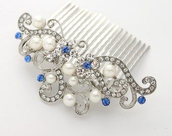 Royal Blue Bridal Comb, Crystal Blue Hair Comb, Sapphire Wedding Hair Piece, Bridal Hair Accessory, Prom Blue Hair Pin, Bridal Hairpiece