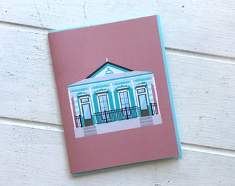 Italianate Shotgun Style House, Historic Architecture Louisiana, Pretty New Orleans Greeting Card