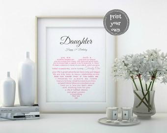 Personalised Daughter gift, Printable Daughter Birthday, Daughter 21st Birthday gift, Daughter 21, Mother Daughter gift, Father Daughter