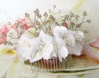 Bridal hair comb silver plated pearls flowers, wedding, Bridal Hair Comb white Wedding