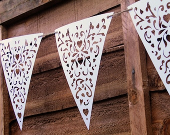 White Heart Lace Bunting - Paper Lace Banner - Wedding Decoration - Bunting Pennants