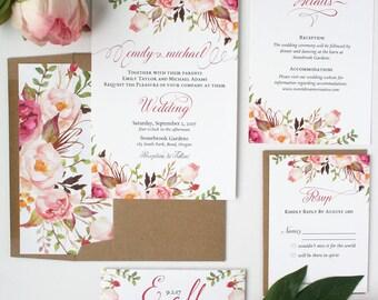 Spring Wedding Invitations - Blush Pink - Wedding Invitations - Rustic Romance Script Collection - Deposit