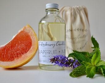 Grapefruit + Mint Reed Diffuser, Natural, Handmade, Organic, Wholesale, Bulk