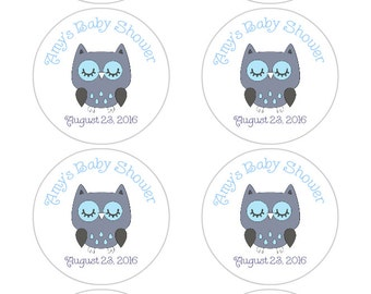Personalized Baby Shower Favor Labels, Owl Baby Shower Stickers in blue and gray, owl baby shower decorations, blue and gray, boy baby